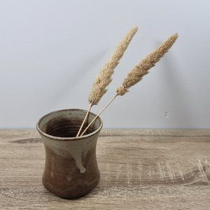 1970s Signed Studio Pottery Tumbler Vase Boho